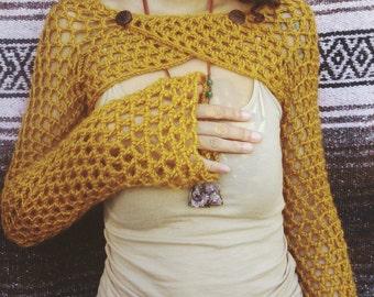 Crocheted woodland shrug