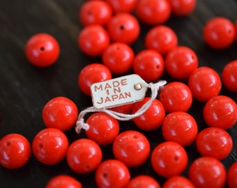 8mm Vintage Red Round Miriam Haskell Beads, 30pcs