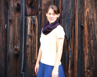 Womens purple infinity knit scarf, alpaca wool blend, gift under 30, handknit, gift for coworker