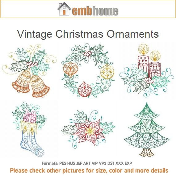 Vintage christmas ornaments machine embroidery designs instant