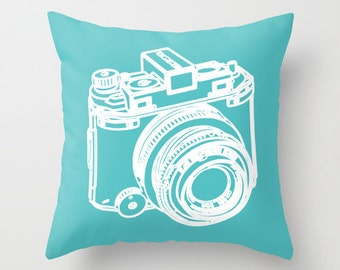 DSLR Camera Pillow Cover - Graphic Novelty Throw Pillow - Teal Turquoise Decorative Pillow - Photographer Gift - Modern Home Decor