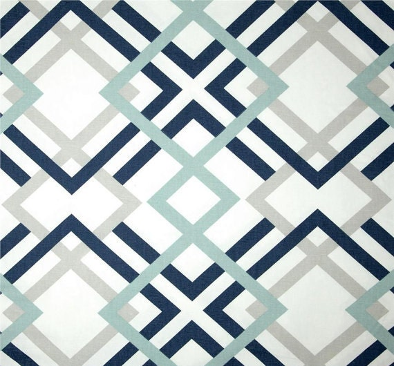 Navy grey amp aqua designer home decor fabric by the by cottoncircle