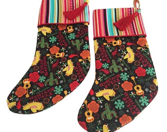 Xmas Stockings, Colorful Stockings, Whimsical Stockings, Felize Navidad