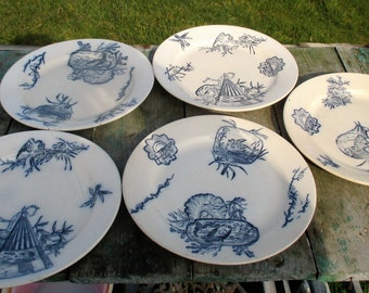 Vintage Faience Plates French Terre de Fer Yoko Marked Japanese Style