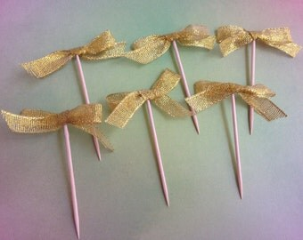 Set of 12 or 24 Golden Ribbon Cupcake Topper-Food Pick