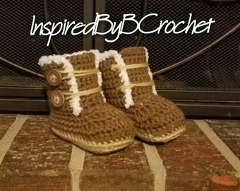 Ugg style baby boots, Faux fur lined boots, crochet boots, baby Uggs