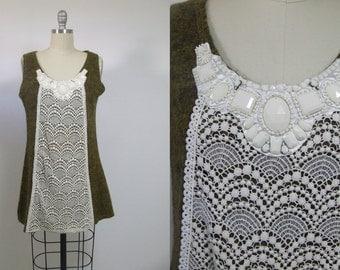 Japanese dress, wool dress, pattern dress, mini dress, winter dress, vintage dress, lace dress, crochet dress, green dress, retro dress, 90s