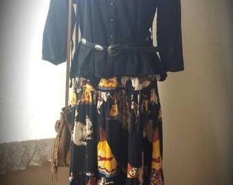 "Fun ""Indian Warrior"" Three Tiered Maxi Skirt Western Bohemian"