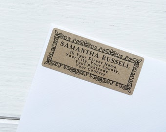 30 Custom Return Address Labels Personalized Kraft Brown Vintage Address Stickers / 918