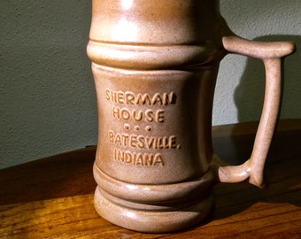 Frankoma M2 18oz Stein was made by Frankoma Pottery for the Sherman House in Batesville Indiana.