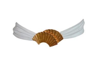 Estate Vintage White Leather Belt with Gold Fan Belt Buckle