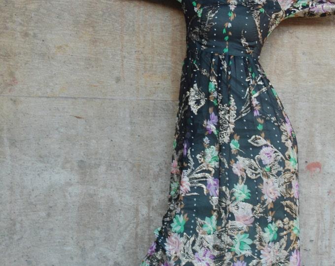 Vintage Estate Made in Switzerland for Julius Garfinckel & Co Black Green Pink Purple Gold Silk Maxi Hostess Dress