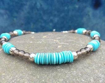 Bracelet, Genuine Sleeping Beauty Turquoise, Smokey Quartz Gemstone, December Birthday Gift for Sister, Protection Jewelry, Boho Chic Style