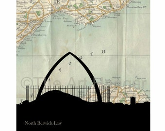 North Berwick Law Old Map, Map Silhouette, Vintage, Giclée, Print, Best Seller, Map Print, Square, Gift, Gift for Him