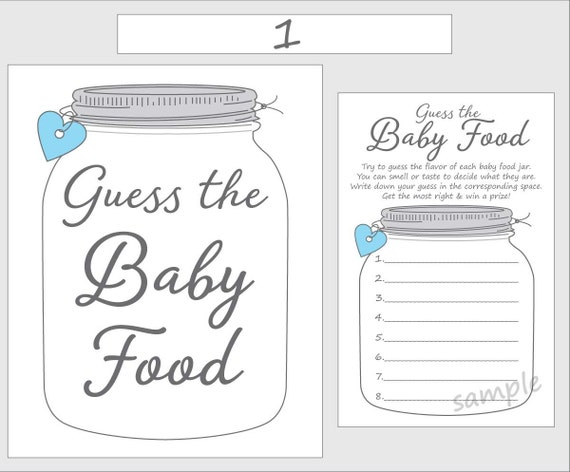 Guess the baby food printable baby shower game blue boy for Baby food jar label template