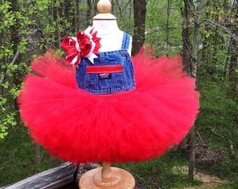 Girls Red Overall Tutu Dress, Red Overall Tutu, Overall Tutu, Red Overall Dress, 18-24 Mth Red Overall Dress, Dress With Bow, Birthday Gift