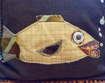 Fish Pillow SALE! 14x14 by Renee Brennan - Funny Fish,