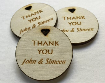 Wedding Wood Engraved Thank You Tag - Custom tag for wedding, anniversary, party - custom wedding wood engraved tags