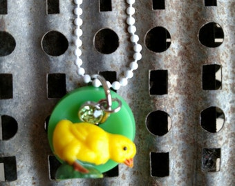 Spring Chick Re-Purposed Little Girl Necklace