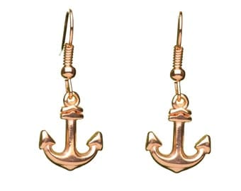 Rose Gold Anchor Earrings | Rose Gold Charm Earrings | Rose Gold Gift Boxed Earrings