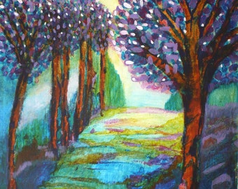 Woodland Path Colorful Abstract Expressionist Art