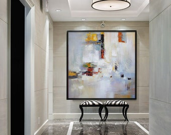 Large Contemporary Art Canvas Painting. Handmade Abstract Art Modern Wall Art, Yellow, red, blue, green, grey.