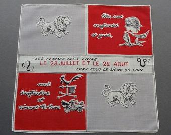 Vintage 1950s French Lion Leo Zodiac Sign Astrological Cotton Hankie Handkerchief