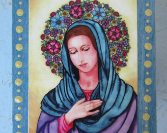 """Wooden Prayer and Blessing Box - FREE SHIPPING - with colored pencils and paper -  Original art print of """"Virgin Mother"""" embellishing lid"""