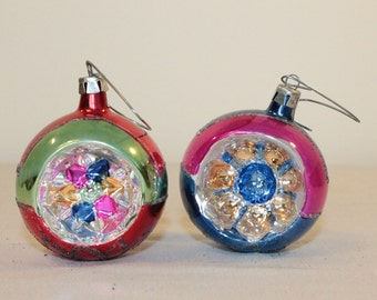TWO – Set of Two Round Indent Blown Glass  Hand-Painted Ornaments – Poland