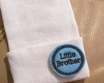 A Best Seller! Newborn Hospital Hat. Now w/ Black letter LITTLE BROTHER Applique.  Every New Baby Boy Should Have! Adorable!