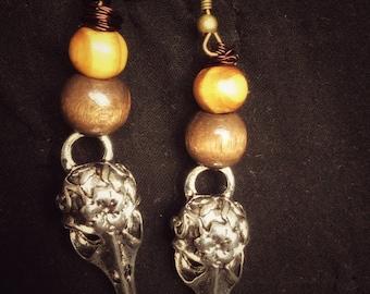 Silver bird skull earrings