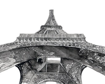 Watercolor Print EIffel Tower Paris France Black and White 11 x 8.5