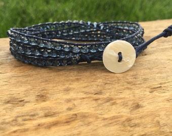 Demin colored beaded wrap bracelet