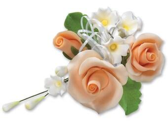 Gum Paste Peach Rose Cascade/ Edible Full Rose Cascade/ Rose Cake Topper/ Edible Flower Wedding Topper/ Edible Flowers/ Cake Topper