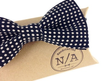 Black and ivory white polka dot bow tie for men, adjustable, pretied