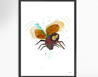 Funny mosquito insect vintage Art Print collage painting fine art collage nature vintage insect art illustration Decor Poster Wall Home (68)