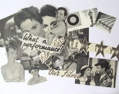 Vintage Hollywood movie clippings: pack of 30 black and white book & magazine clippings Craft pack for scrapbooks, collage, smash book PE284