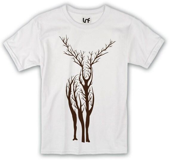 Tree Stag Design T Shirt Sb764