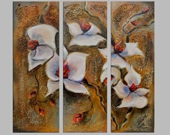 Triptych set canvas art white flowers. Original  paintings. Modern painting, abstract.  Free shipping anywhere in the world.