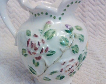 Flower vase vintage pitcher flower vase shabby chic cottage chic