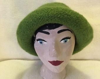 Womens moss green wool felted hat
