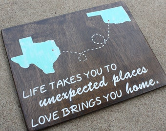 Two State Art - Love Brings You Home - Hand Painted - Rustic Home Decor - Long Distance Relationship - Family Sign - Wooden Signs -