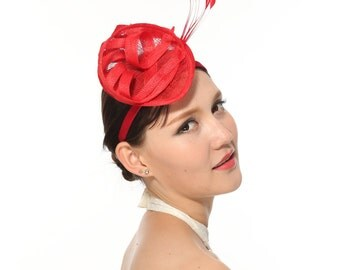 Loop Fascinator Hat for Weddings,church Tea Party Red
