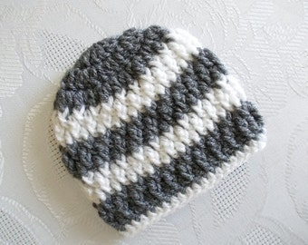 Crochet baby boy hat Striped boy hat Baby boy hat Newborn hat Baby boy beanie Winter baby hat Gray and white hat Baby hospital hat Baby hat