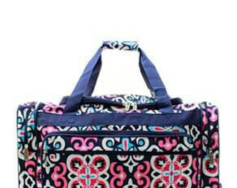 "20"" Pink and navy geo duffel"