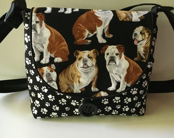 English Bulldog Print Crossbody, Pet Lover Bag, Animal Lover Shoulder Bag