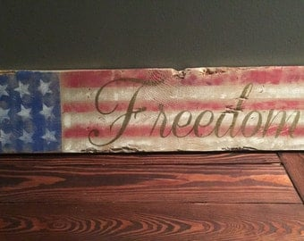 American flag FREEDOM distressed/reclaimed sign