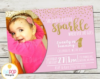 She Leaves a Little Sparkle - Gold and Pink - Glitter - Birthday Invitation - Girl - Digital Printable