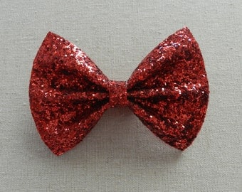 Red Glitter Bow, Red Glitter Bow Tie, Ruby Red Glitter Hair Bow