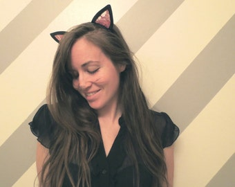 Black Cat Ears Headband with Pink Lace!